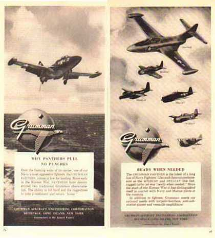 Grumman Aircraft Ads – Panther, Bearcat, Hellcat – Set of Two (1951)