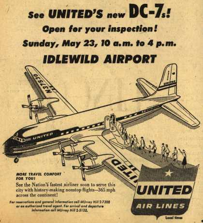 United Air Line's DC-7s – See United's new DC-7s! Open for your inspection! Sunday, May 23, 10 a.m. to 4 p.m. Idlewild Airport (1954)