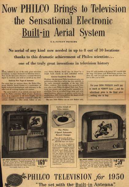 Philco's Television – Now PHILCO Brings to Television the Sensational Electronic Built-in Aerial System (1949)