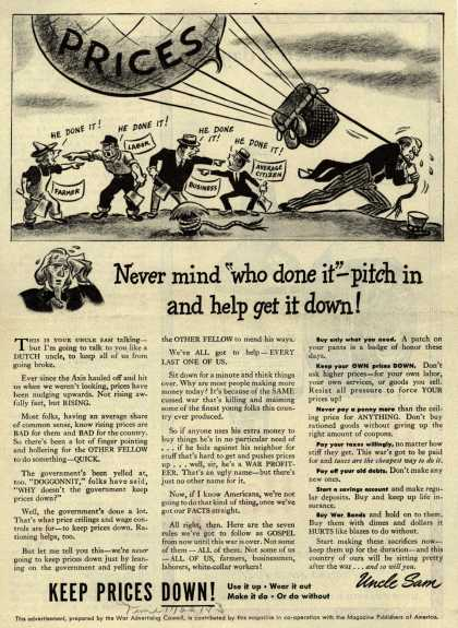 "War Advertising Council's Anti-inflation – Never mind ""who done it"" – pitch in and help get it down (1943)"