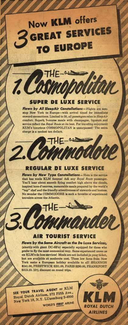 KLM Royal Dutch Airline's Europe – Now KLM offers 3 Great Services To Europe (1952)