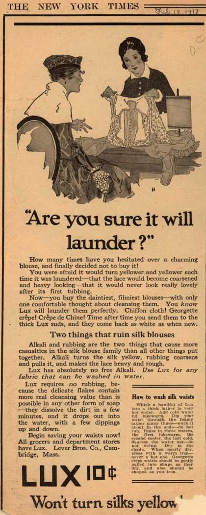"Lever Bros.'s Lux (laundry flakes) – ""Are you sure it will launder?"" (1917)"