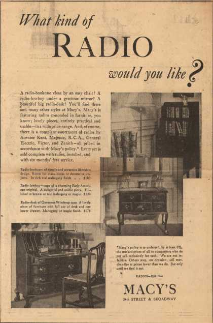 Macy's Radios (Retail Seller) – What Kind of Radio Would You Like? (1930)