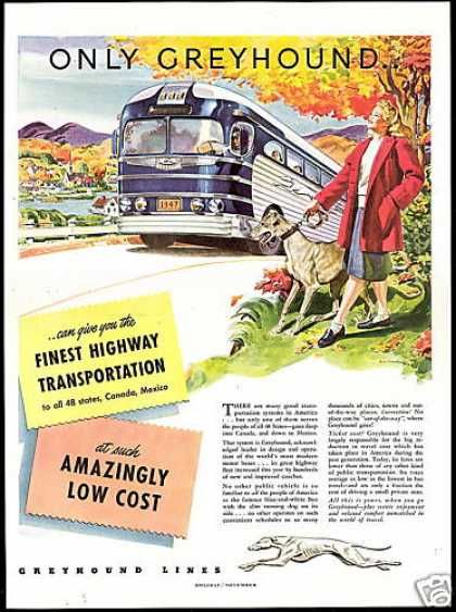 Greyhound Bus Dog Pretty Woman Art Travel (1947)