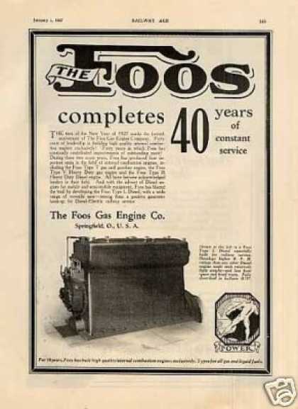 Foos Engine Ad Type L Diesel Engine (1927)