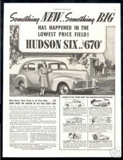 Hudson Six, Safest & Smartest Car at $670, Car (1940)
