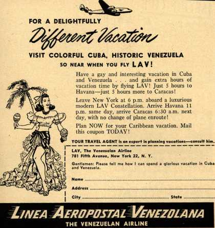 Linea Aeropostal Venezolana- The Venezuelan Airline's Cuba and Venezuela – FOR A DELIGHTFULLY Different Vacation VISIT COLORFUL CUBA, HISTORIC VENEZUELA SO NEAR WHEN YOU FLY LAV (1952)