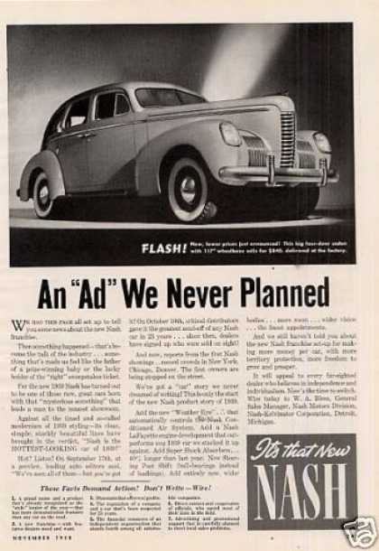 "Nash 4-door Sedan Ad ""An Ad We Never... (1939)"