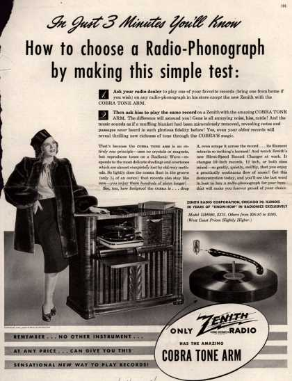 Zenith Radio Corporation's Zenith Radio-Phonograph – In Just 3 Minutes You'll Know How to choose a Radio-Phonograph by making this simple test: (1947)