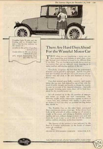 "Franklin Car Ad ""There Are Hard Days... (1918)"