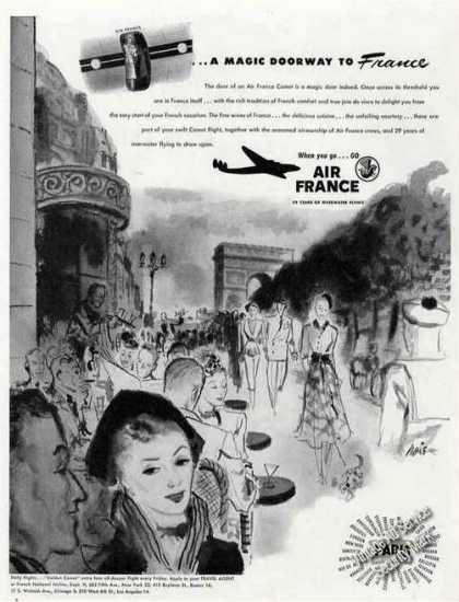 "Air France ""Magic Doorway To France"" Ad Paris Art (1948)"
