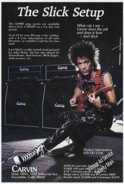 Earl Slick Photo Carvin X100b Amps (1985)