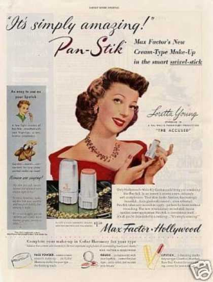 Max Factor Make-up Ad Loretta Young (1949)