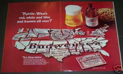 Budweiser Beer 2pg Foldout Usa Map (1968)