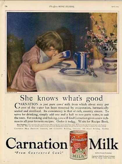 "Carnation Milk Ad ""She Knows What's Good... (1923)"
