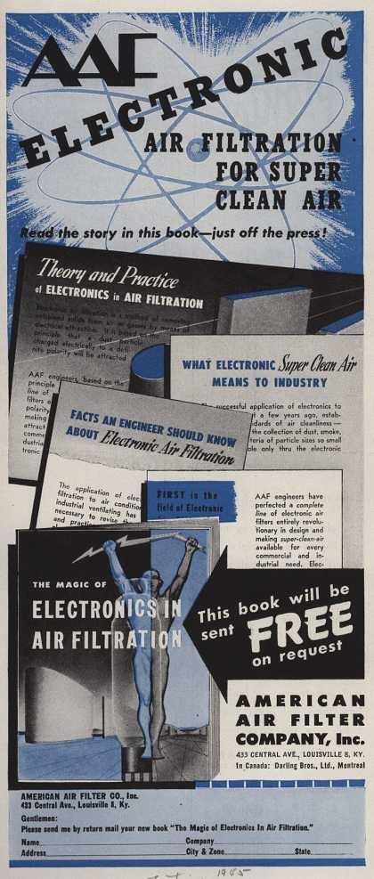 American Air Filter Company, Incorporated's Air Filtration Systems – AAF Electronic Air Filtration for Super Clean Air (1945)