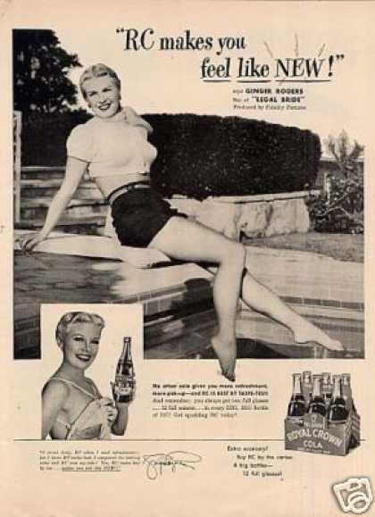 Royal Crown Cola Ad Ginger Rogers (1950)