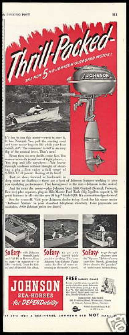 Johnson Sea Horse Outboard Boat Motor 4 Views (1950)