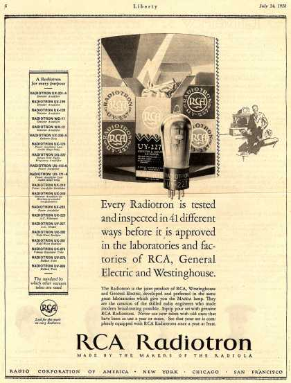 Radio Corporation of America's Radio Tubes – Every Radiotron is tested and inspected in 41 different ways before it is approved... (1928)