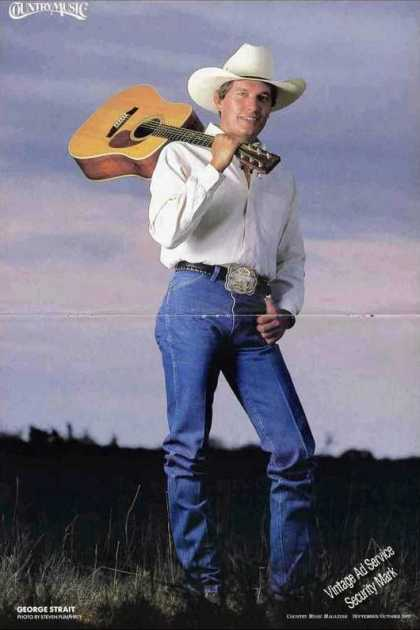 George Strait With Guitar Magazine Photo Feature (1989)