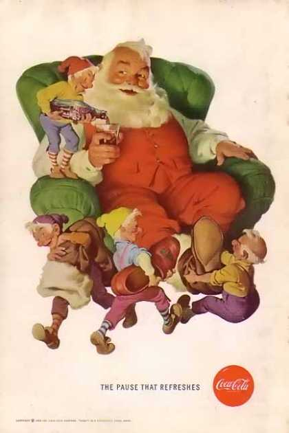 Coke Christmas with Santa with Elves. (1960)