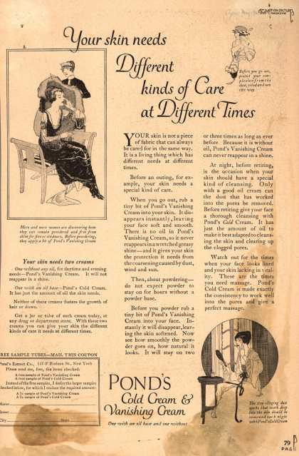 Pond's Extract Co.'s Pond's Cold Cream and Vanishing Cream – Your skin needs different kinds of care at different times (1920)