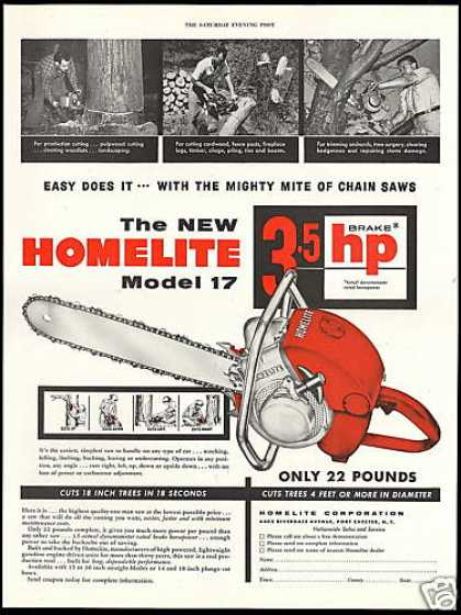 Homelite Model 17 Chain Saw Vintage (1954)