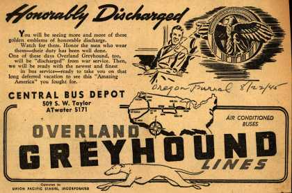 Interstate Transit Lines (Overland Greyhound) – Honorably Discharged (1945)