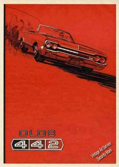 Oldsmobile 442 Ad Dramatic Automobile Art (1965)