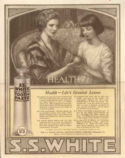 S. S. White Dental Manufacturing Co.'s tooth paste – Health – Life's Greatest Lesson (1918)