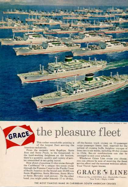 Grace Line Fleet Cruise Ships Over 20 Shown (1964)