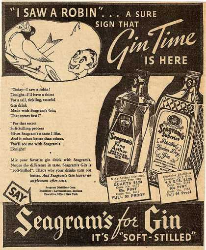 Seagram's King Arthur and Superior Distilled London Dry Gins (1936)