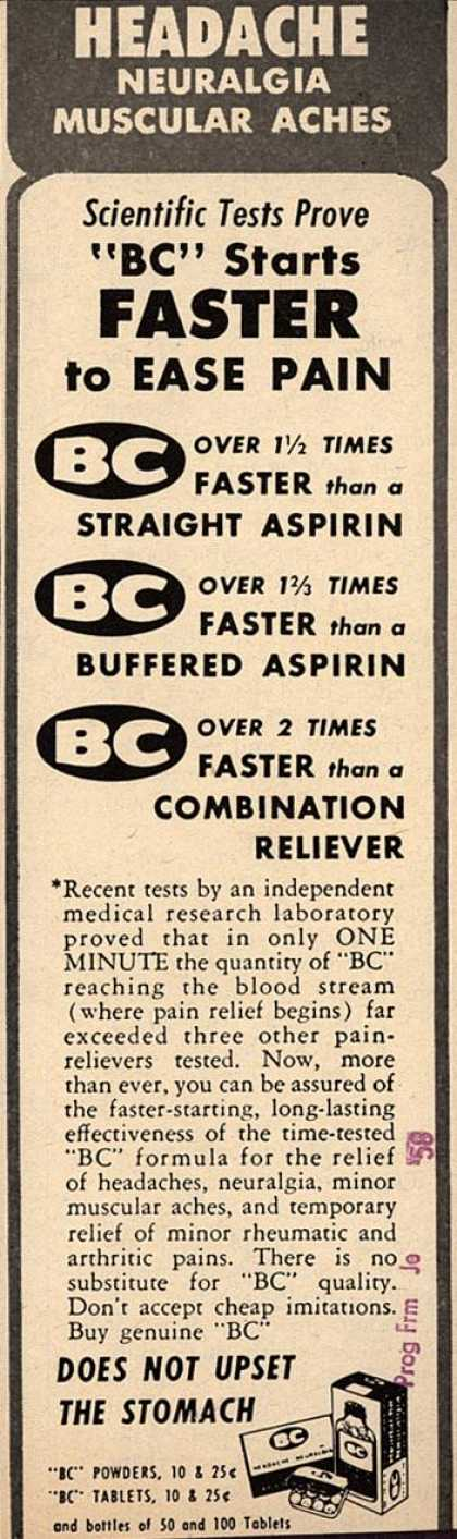 "Unknown's BC – Headache Neuralgia Muscular Aches Scientific Tests Prove ""BC"" Starts Faster to Ease Pain (1958)"