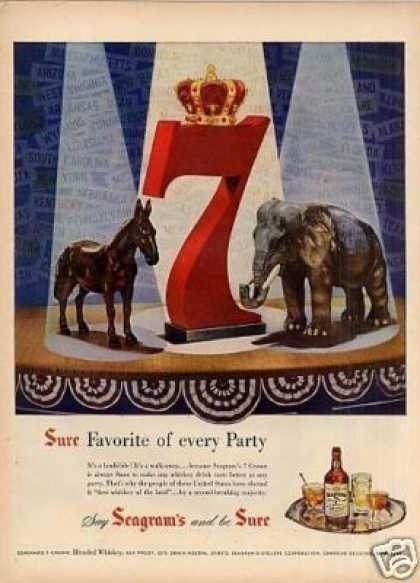 "Seagram's Whiskey Ad ""Favorite of Every Party... (1952)"