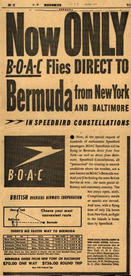 British Overseas Airways Corporation's Bermuda – NOW ONLY BOAC flies DIRECT TO BERMUDA FROM NEW YORK AND BALTIMORE IN SPEEDBIRD CONSTELLATIONS (1948)