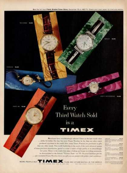 Timex Wristwatch Marlin 100 Watch Ad T (1959)