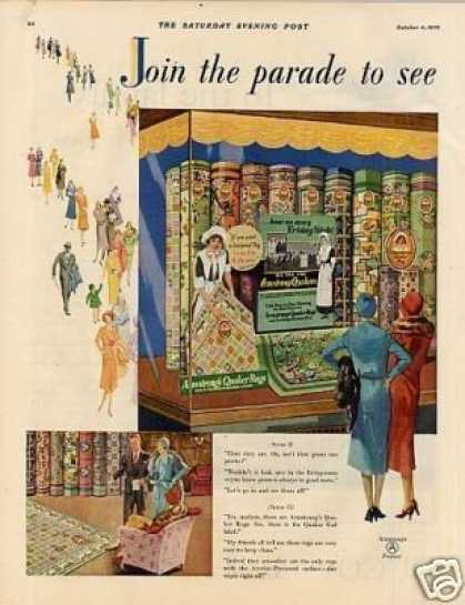 Armstrong's Quaker Rugs Ad 2 Page (1926)