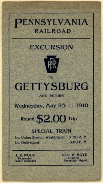 Pennsylvania Railroad's Excursion to Gettsyburg train ticket – Excursion to Gettysburg (1910)