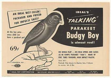 Ideal Toy Talking Parakeet Budgy Boy Trade (1954)