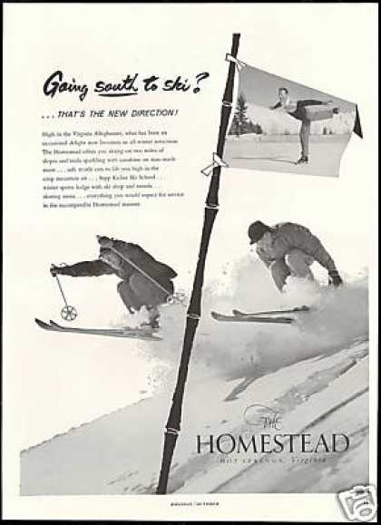 Homestead Hot Springs Virginia Snow Ski Skiers (1959)