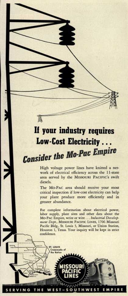Missouri Pacific Line's Mo-Pac Empire – If your industry requires Low-Cost Electricity...Consider the Mo-Pac Empire (1950)