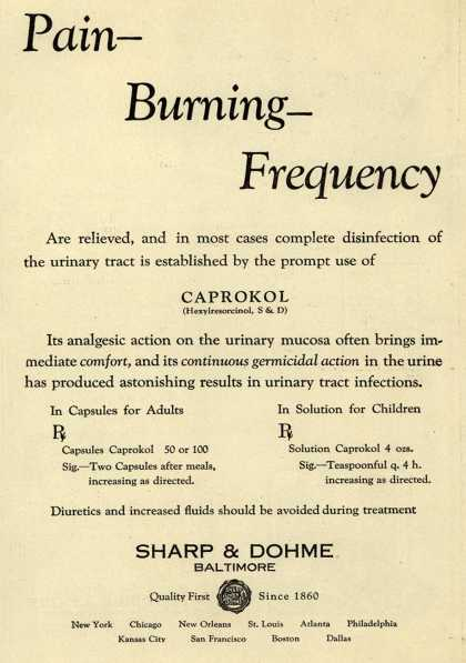 Sharp & Dohme's Caprokol – Pain-Burning-Frequency (1930)