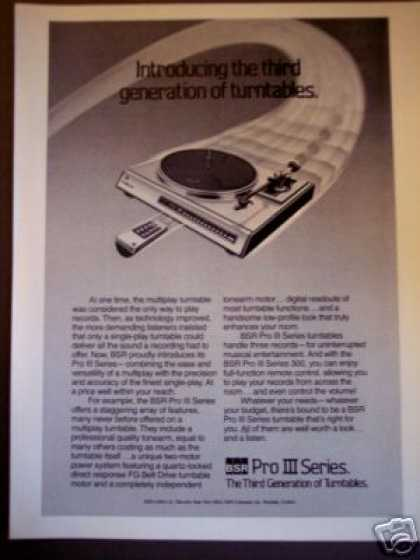 Bsr Pro Iii Series Record Turntables (1981)