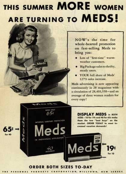 Personal Products Corporation's Meds Tampons – This Summer More Women Are Turning To Meds (1944)
