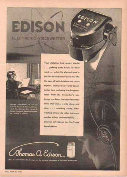 Thomas A. Edison Incorporation – Edison Electronic Voicewriter (1948)