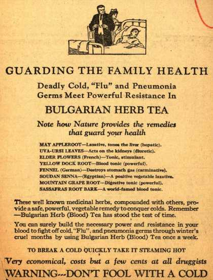 Unknown's Bulgarian Herb Tea – Guarding The Family Health (1928)