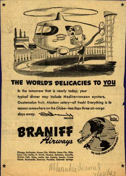 Braniff Airway's Aircargo – THE WORLD'S DELICACIES TO YOU (1943)