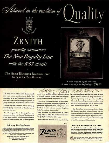 Zenith Radio and Television's Televisions – Achieved in the Tradition of Quality (1952)