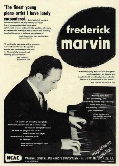Frederick Marvin Photo Pianist Trade (1949)