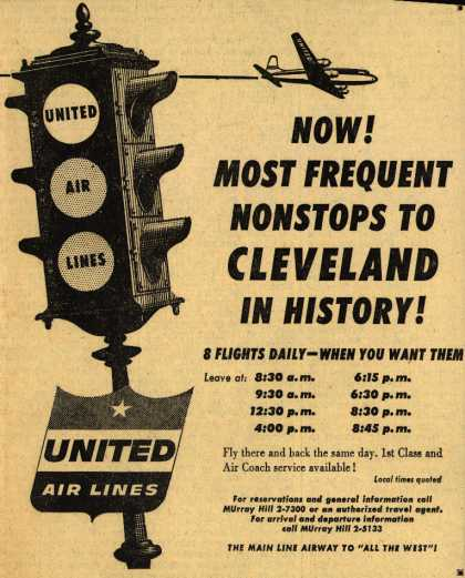 United Air Line's Cleveland – Now! Most Frequent Nonstops to Cleveland In History (1954)